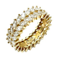 2.00 Carat Marquise Double Row Diamond and Yellow Gold Band