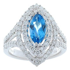 2.00 Carat Marquise Swiss Blue Topaz and Diamonds Cocktail Ring 18 Karat Gold