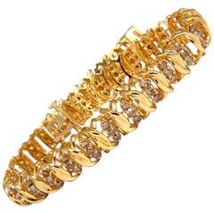 2.00 Carat Natural Brown Diamond Link Bracelet 14 Karat