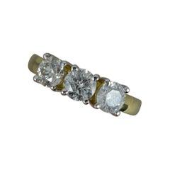 2.00 Carat Natural Diamond and 18 Carat Gold Trilogy Ring