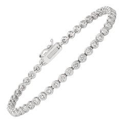 2.00 Carat Natural Diamond Bezel Soft Bracelet G SI 14 Karat White Gold