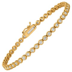 2.00 Carat Natural Diamond Bezel Soft Bracelet G SI 14 Karat Yellow Gold