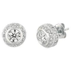 2.00 Carat Natural Diamond Earrings G SI 14K White Gold