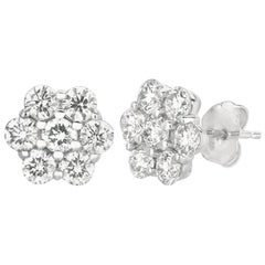 2.00 Carat Natural Diamond Flower Earrings G SI 14 Karat White Gold