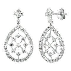2.00 Carat Natural Diamond Pear Shape Drop Earrings G SI 14k White Gold
