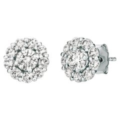 2.00 Carat Natural Diamond Stud and Jacket Earrings G-H SI 14 Karat White Gold