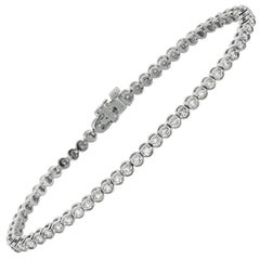 2.00 Carat Natural Diamond Tennis Bracelet G-H SI 14 Karat White Gold
