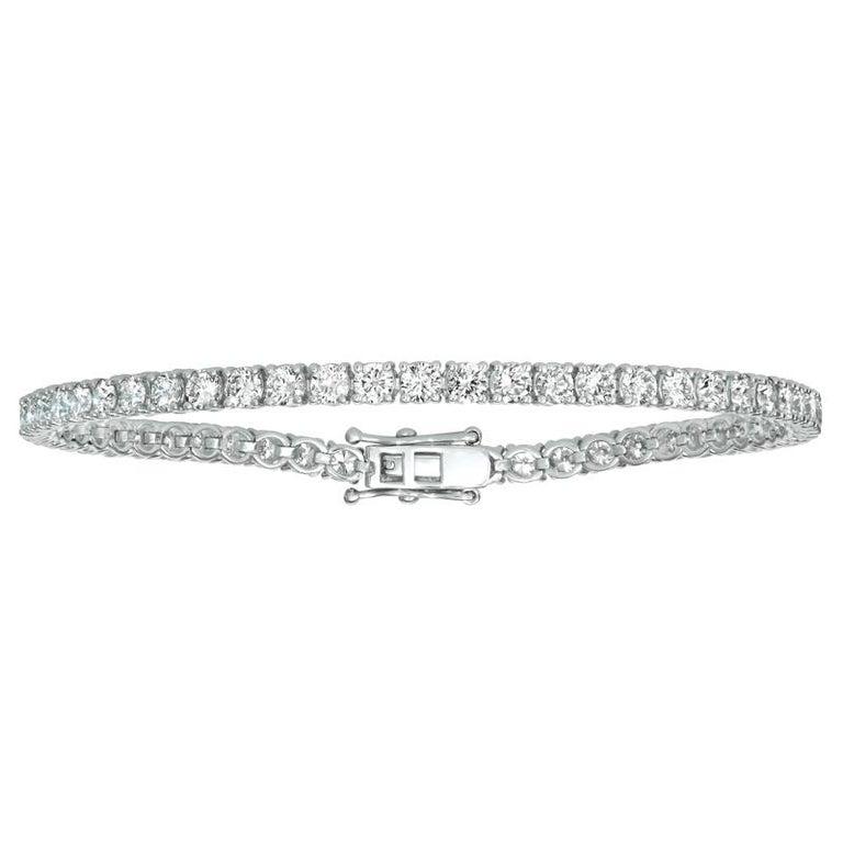 Contemporary 2.00 Carat Natural Diamond Tennis Bracelet G SI 14 Karat White Gold 84 Stones For Sale