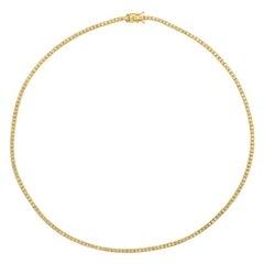 2.00 Carat Natural Diamond Tennis Necklace G SI 14k Yellow Gold