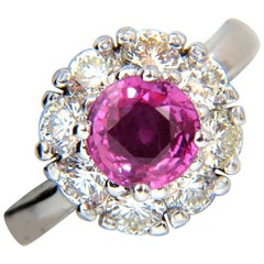 2.00 Carat Natural Fancy Intense Pink Sapphire Diamond Ring Cluster Halo A+