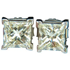 2.00 Carat Natural Princess Cut Diamond Stud Earrings J/SI-1 14 Karat