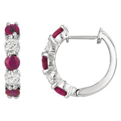 2.00 Carat Natural Ruby and Diamond Hoop Earrings G SI 14 Karat White Gold