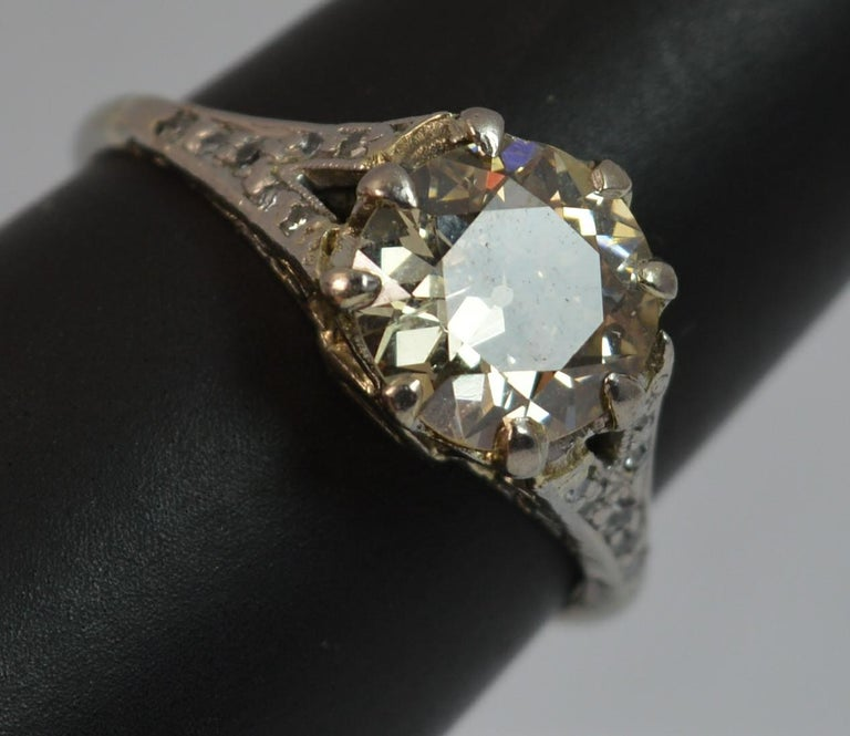 Antique Engagement Rings For Sale: 2.00 Carat Old Cut Diamond 18 Carat White Gold Antique