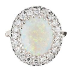 2.00 Carat Opal Diamond Halo White Gold Ring