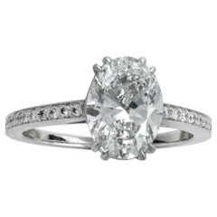 2.00 Carat Oval Diamond Platinum Engagement Ring GIA Certified