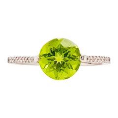 Peridot Diamond Ring, 2.00 Carat Gemstone and 0.25 Carat in 14 Karat White Gold