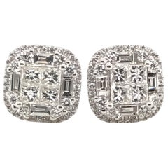 2.00 Carat Princess Cluster Diamond Earrings with Rounds and Baguettes