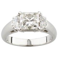 2.00 Carat Princess Cut Diamond Platinum Three-Stone Ring EGL Certified