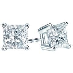 2.00 Carat Princess Cut Diamond Stud Earrings 18 Karat White Gold Setting