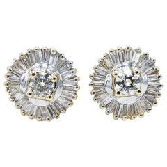 2.00 Carat Round and Baguette Diamond Halo Style Stud Earrings 14 Karat Gold