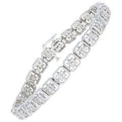 2.00 Carat Round Brilliant Diamond Bracelet 14 Karat White Gold Milgrain Link