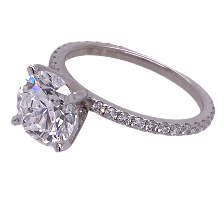 Modern 2.00 Carat Round Brilliant Diamond Engagement Ring GIA D/SI1 18 Karat White Gold For Sale