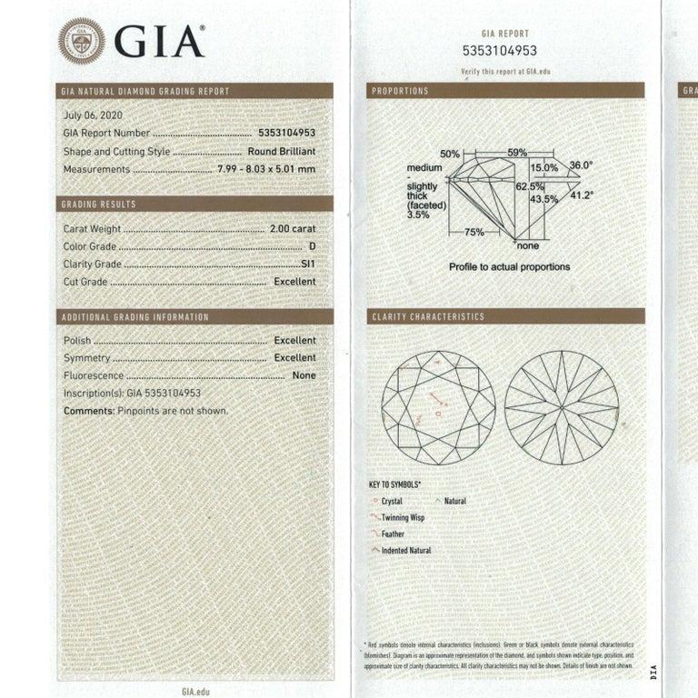 Round Cut 2.00 Carat Round Brilliant Diamond Engagement Ring GIA D/SI1 18 Karat White Gold For Sale