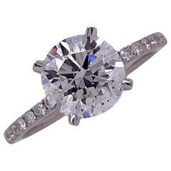 2.00 Carat Round Brilliant Diamond Engagement Ring GIA D/SI1 18 Karat White Gold
