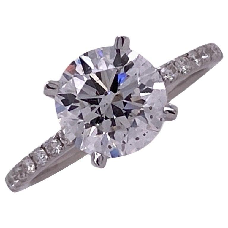 2.00 Carat Round Brilliant Diamond Engagement Ring GIA D/SI1 18 Karat White Gold For Sale