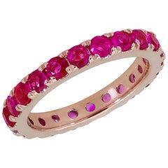 2.00 Carat Round Ruby Eternity Wedding Band in 18 Karat Rose Gold