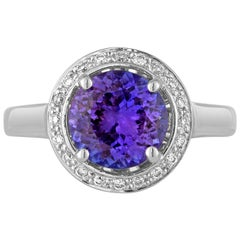 2.00 Carat Round Tanzanite Diamond Halo Gold Ring