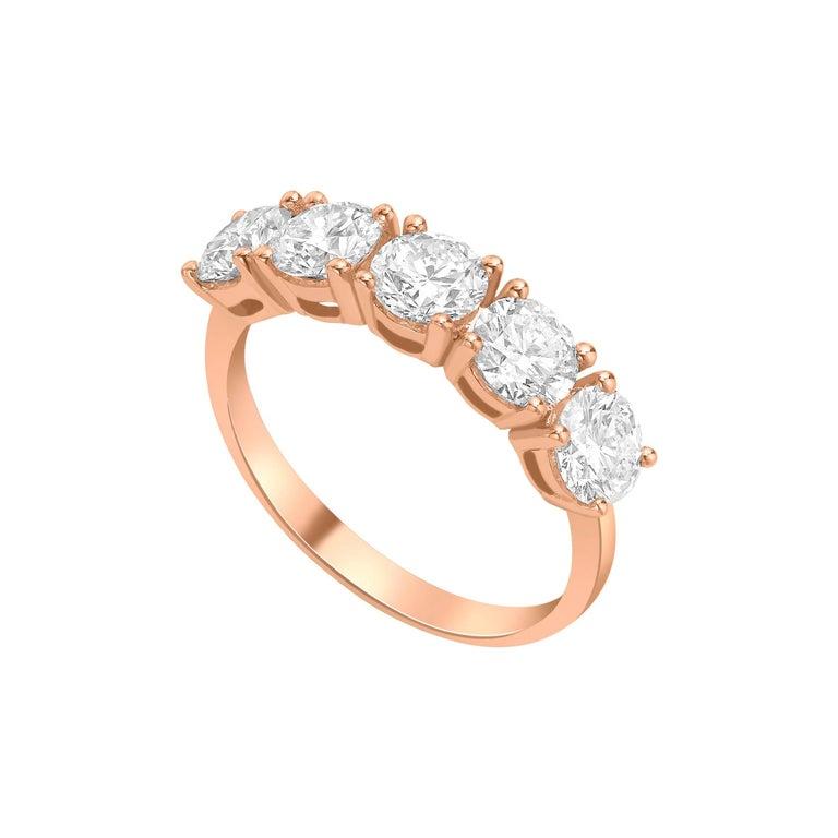 2.00 Carat Round White Diamond 5 Stone 18KT Rose Gold Half Eternity Modern Ring