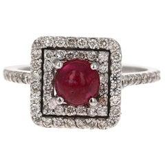 2.00 Carat Ruby Diamond White Gold 14 Karat Halo Ring