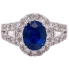 2.00 Carat Sapphire with 1.00 Carat Diamond Halo 18 Karat Ring, Ceylon