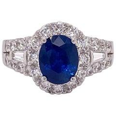 2.00 Carat Sapphire with 1.00 Carat Diamond Halo 18 Karat Ring, Ceylon