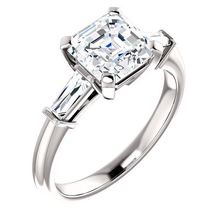 2.00 Carat Square Emerald Diamond Platinum Engagement Ring GIA E-VS1