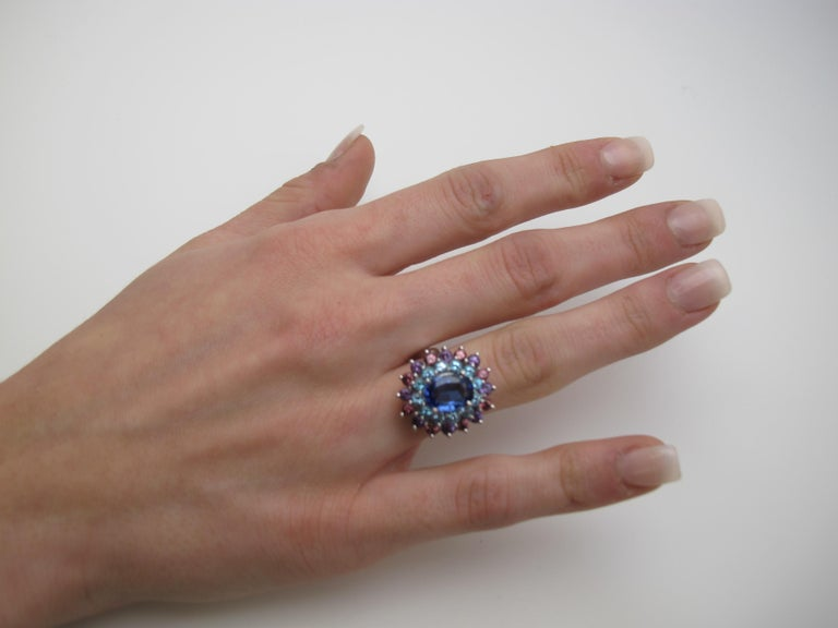 A happy combination of color is sure to brighten your day or night! This one-of-a-kind ring uses color in an almost painterly way. It features an oval tanzanite encircled by blue topazes and alternating amethysts and rhodolite garnets. Handmade in