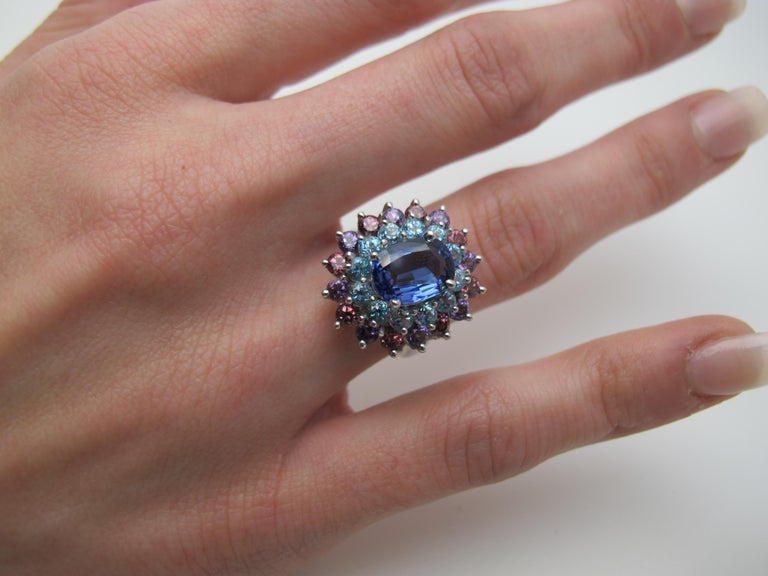 Oval Cut 2.00 ct. Tanzanite, Amethyst, Garnet, Blue Topaz 14k Gold Cocktail Cluster Ring For Sale
