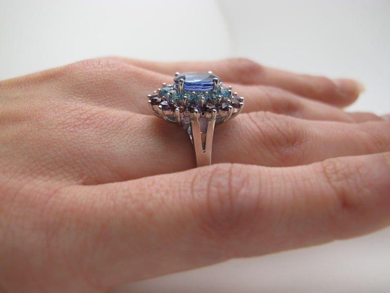 2.00 ct. Tanzanite, Amethyst, Garnet, Blue Topaz 14k Gold Cocktail Cluster Ring In New Condition For Sale In Los Angeles, CA