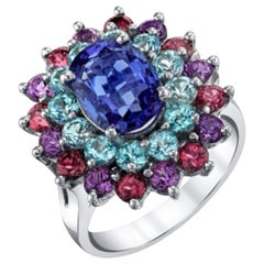 2.00 ct. Tanzanite, Amethyst, Garnet, Blue Topaz 14k Gold Cocktail Cluster Ring