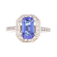 2.00 Carat Tanzanite Diamond 14 Karat White Gold Engagement Ring