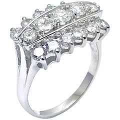 2.00 Carat Three-Row Diamond White Gold Right Hand Ring