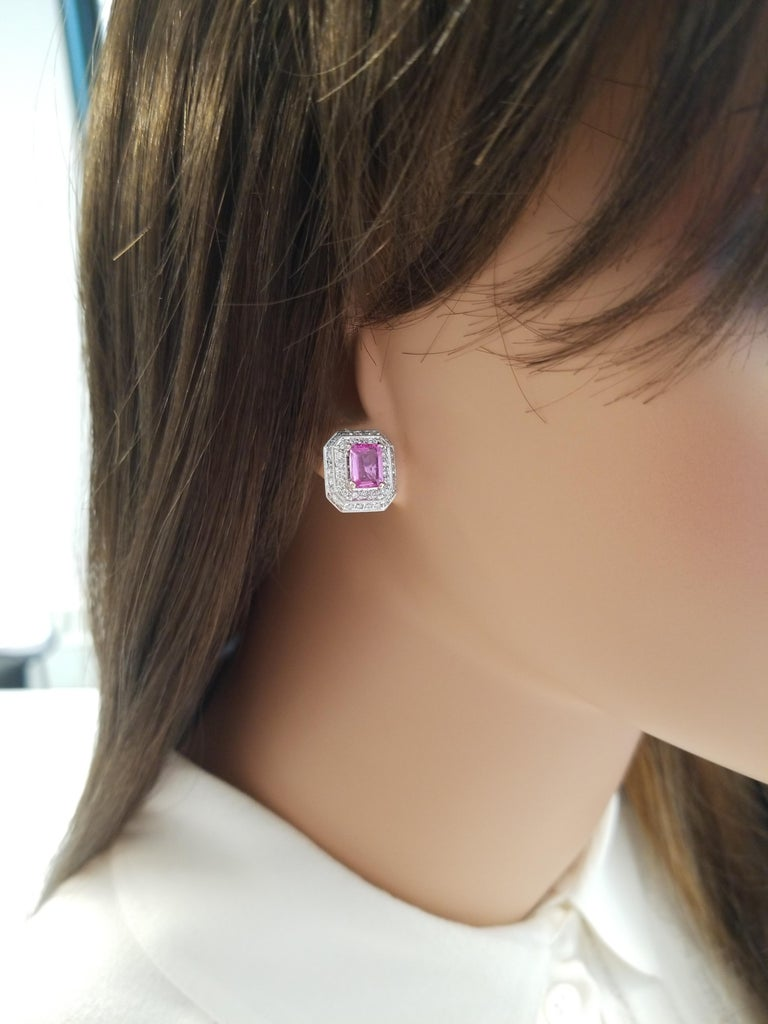 Contemporary 2.00 Carat Total Emerald Cut Pink Sapphire and Diamond White Gold Earrings For Sale