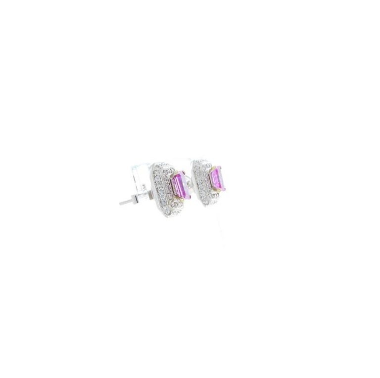 2.00 Carat Total Emerald Cut Pink Sapphire and Diamond White Gold Earrings In New Condition For Sale In Chicago, IL