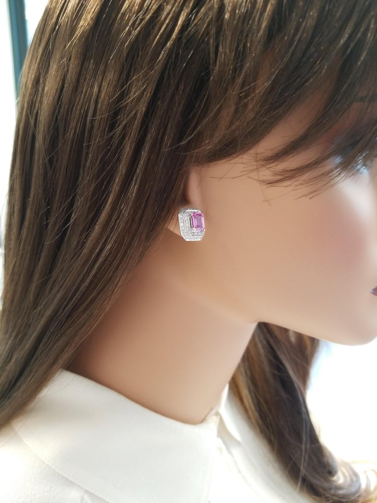 2.00 Carat Total Emerald Cut Pink Sapphire and Diamond White Gold Earrings For Sale 1