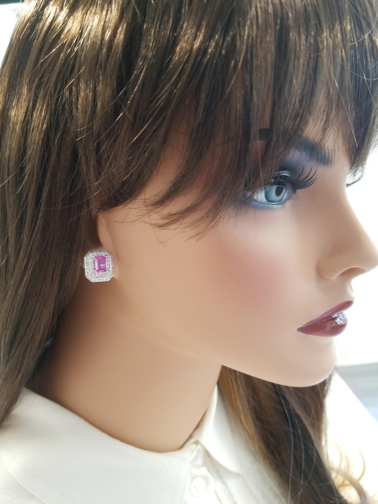 2.00 Carat Total Emerald Cut Pink Sapphire and Diamond White Gold Earrings For Sale 2
