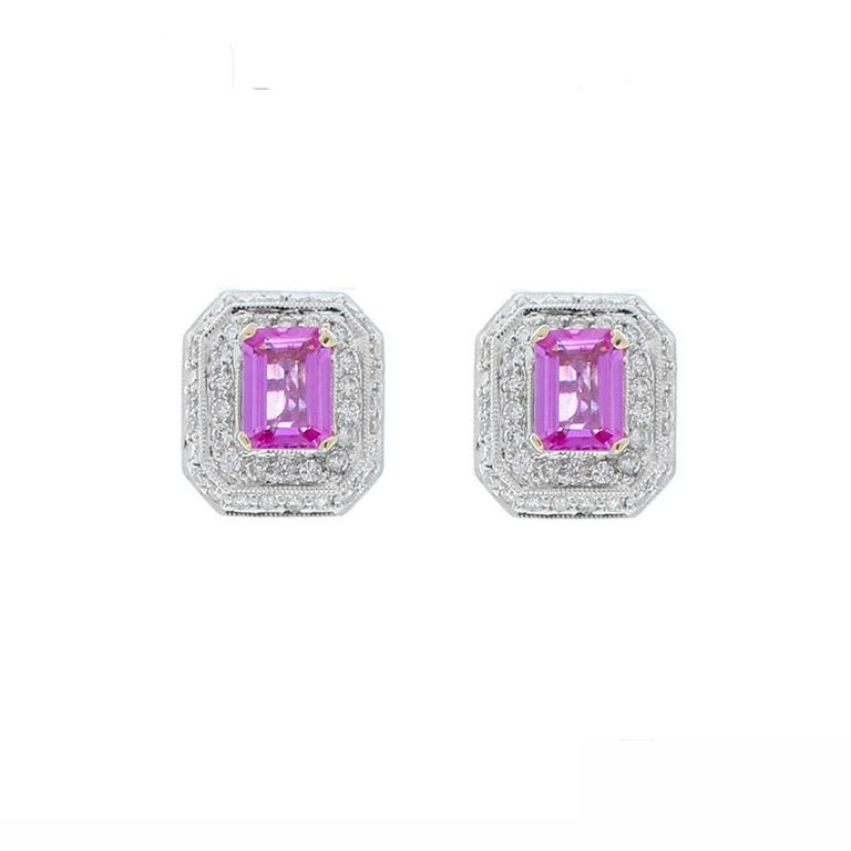 2.00 Carat Total Emerald Cut Pink Sapphire and Diamond White Gold Earrings For Sale