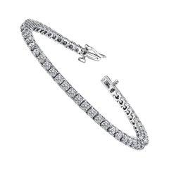 2.00 Carat Total Round Diamond 4 Prong Tennis Bracelet in 14 Karat White Gold