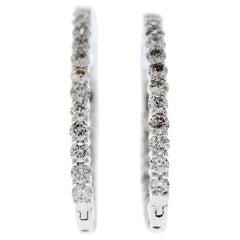 2.00 Carat Total Weight Diamond Inside-Outside Hoop Earrings in 14 Karat Gold