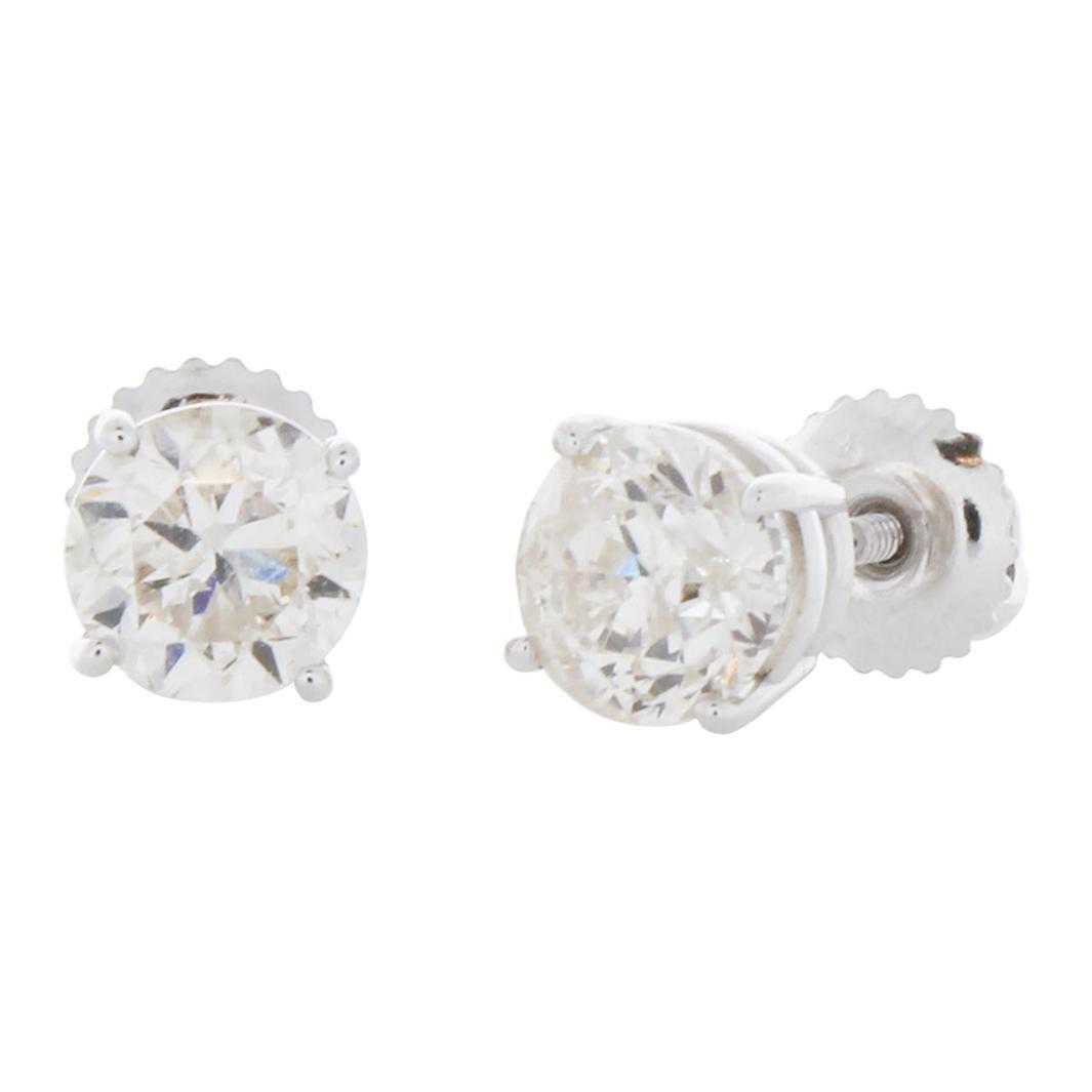 2.00 Carat Total Weight Diamond Stud Earrings in 14k White Gold